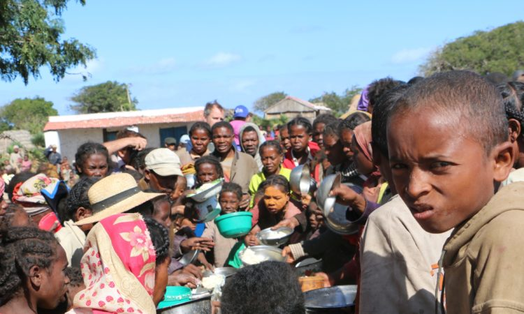 Villagers in Anjampaly, Madagascar, receiving food assistance
